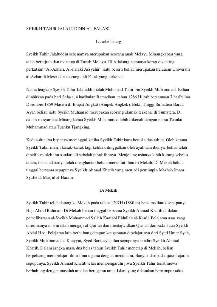 SHEIKH TAHIR JALALUDDIN AL-FALAKI                                       LatarbelakangSyeikh Tahir Jalaluddin sebenarnya me...