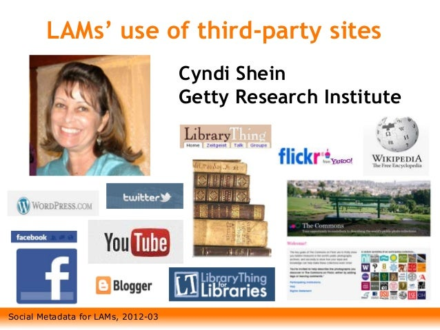 Social Metadata for LAMs, 2012-03 LAMs' use of third-party sites Cyndi Shein Getty Research Institute