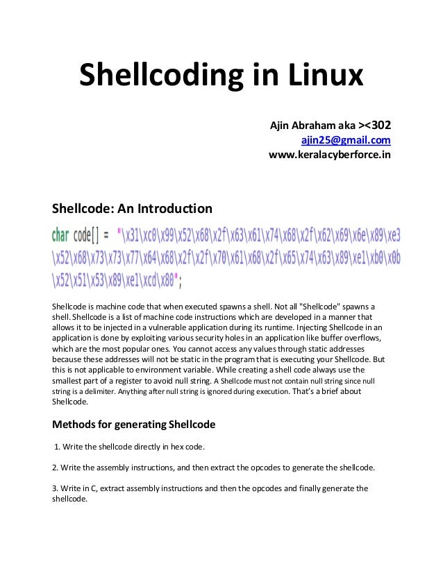 Shellcoding in linux