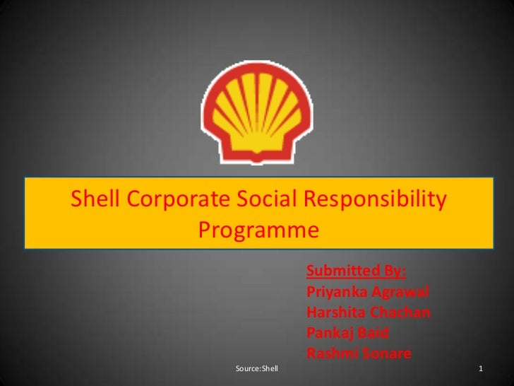 Shell Corporate Social Responsibility            Programme                               Submitted By:                    ...