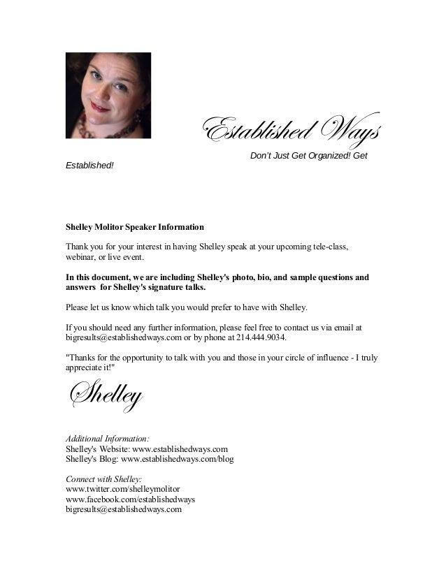 Shelley's Speaker Page