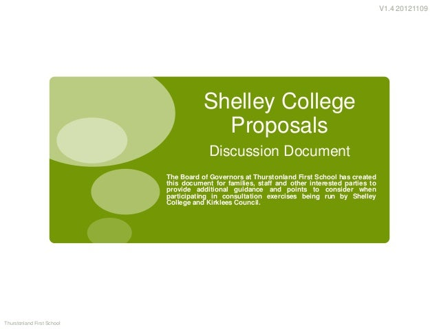 V1.4 20121109                                       Shelley College                                         Proposals     ...