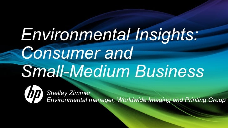 Shelley Zimmer: Environmental insights - Consumer and small medium business