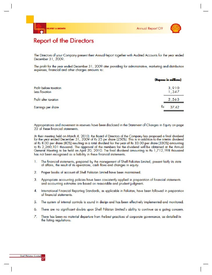 Shell pakistan limited annual report 2009