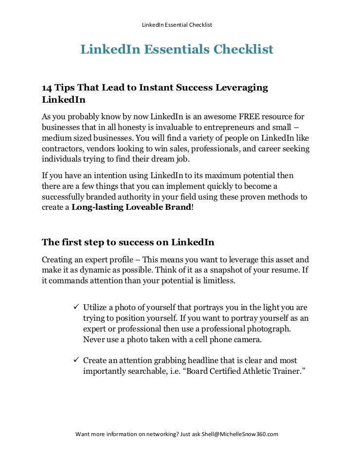 LinkedIn Essentials Checklist