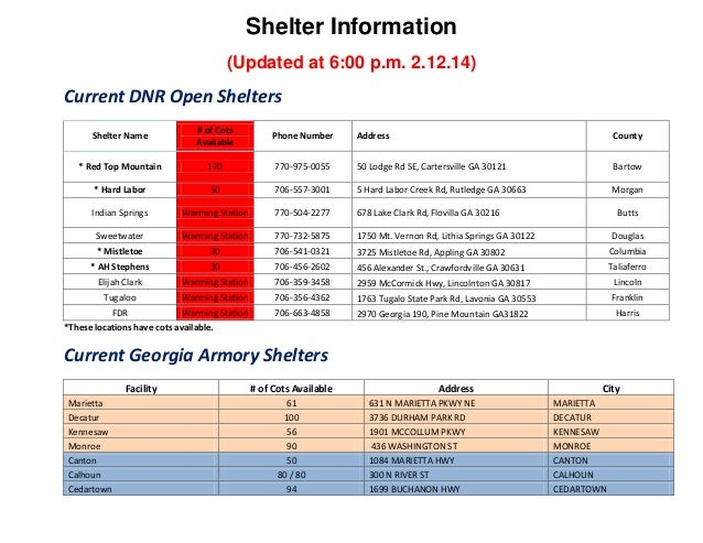 Shelter Information (Updated at 6:00 p.m. 2.12.14)  Current DNR Open Shelters Shelter Name  # of Cots Available  Phone Num...