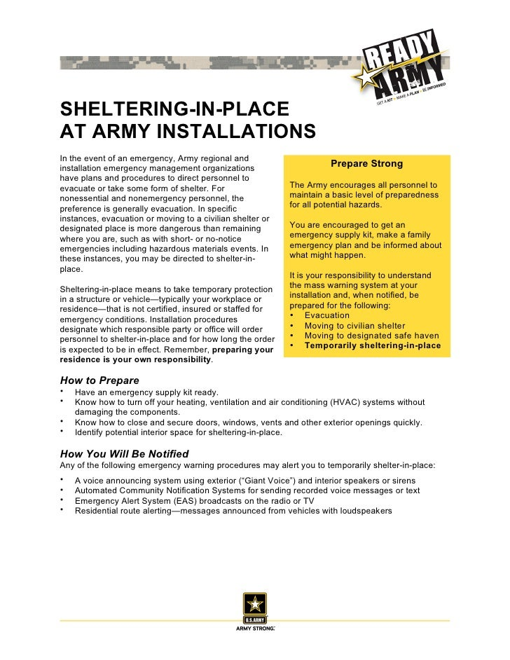 SHELTERING-IN-PLACEAT ARMY INSTALLATIONSIn the event of an emergency, Army regional andinstallation emergency management o...