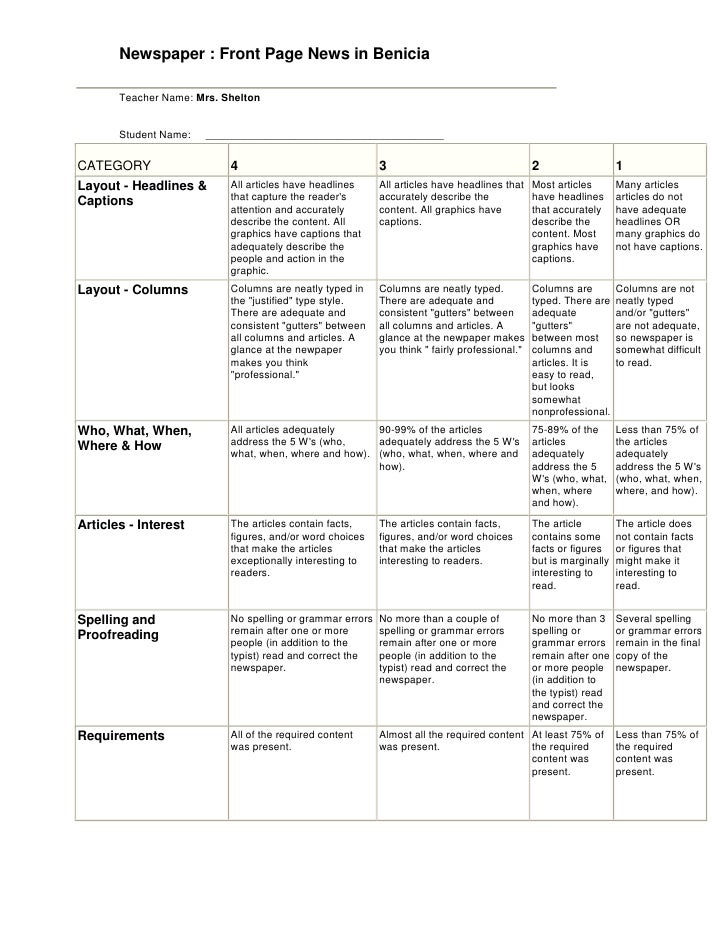 rubrics for writing essay
