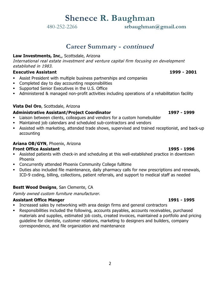 Resume Help Return To Your Earlier Career Path  Administrative Assistant Office Resume