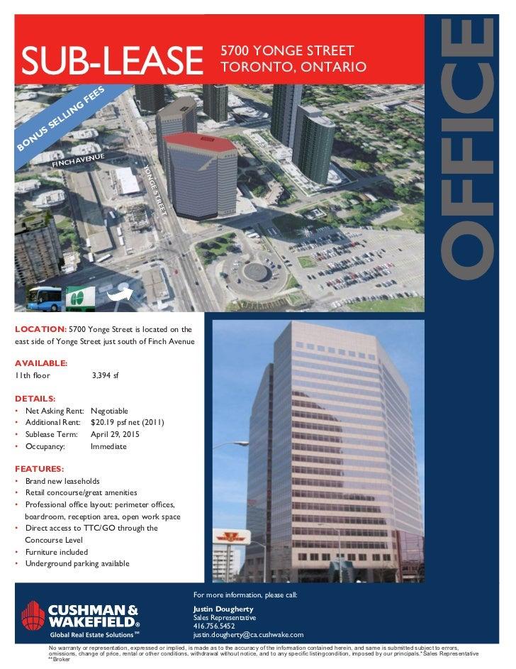 OFFICE SUB-LEASE                                                                  5700 YONGE STREET                       ...