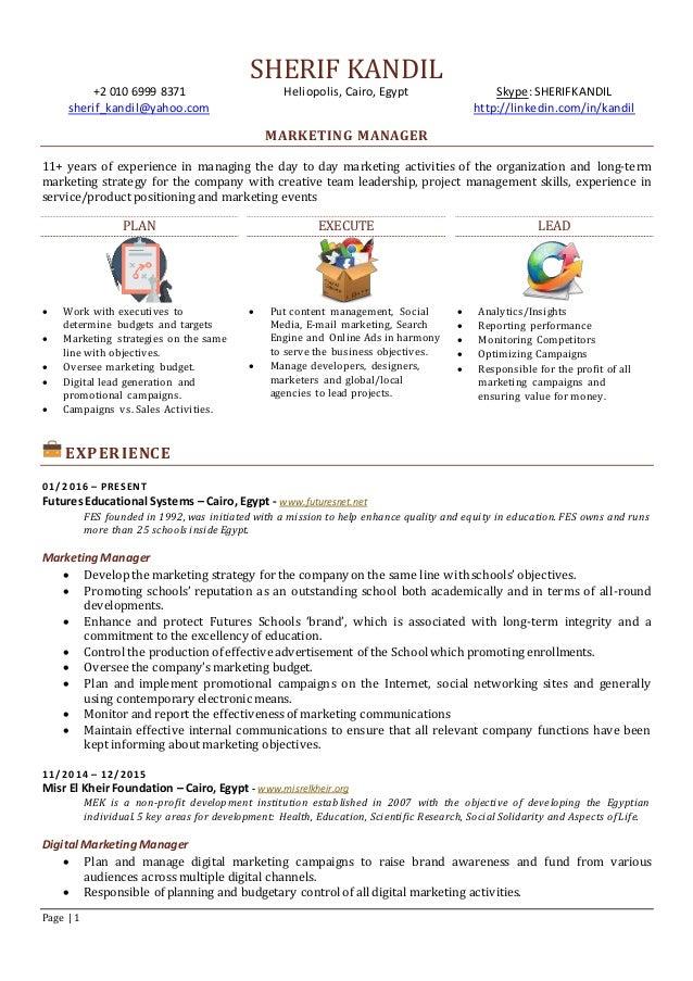 Marketing Manager Essay