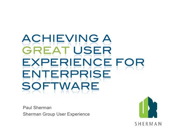 Paul Sherman Sherman Group User Experience