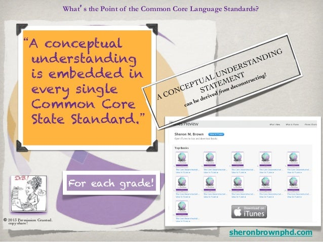 """What's the Point of the Common Core Language Standards?           """"A conceptual            understanding            is emb..."""