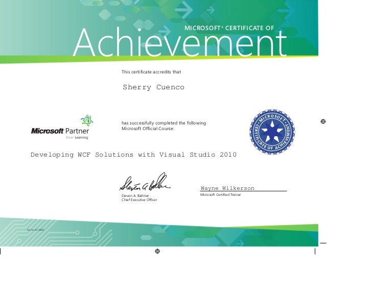 Ms Certificate Of Achievement