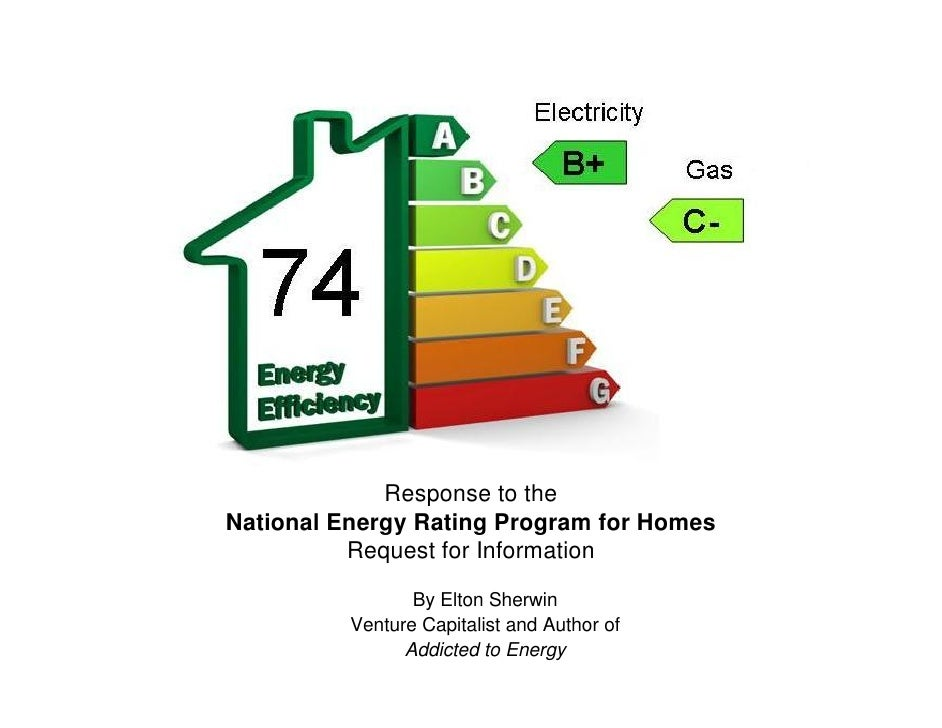 Response to the National Energy Rating Program for Homes           Request for Information                   By Elton Sher...