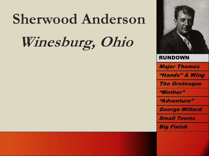 """Sherwood Anderson<br />Winesburg, Ohio<br />RUNDOWN<br />Major Themes<br />""""Hands"""" & Wing<br />The Grotesque<br />""""Mother""""..."""