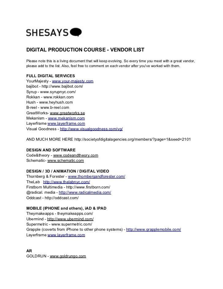 Shesaysdigiproduction vendorlist