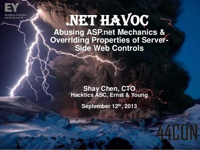 44CON 2013 - .Net Havoc - Manipulating Properties of Dormant Server Side Web Controls - Shay Chen