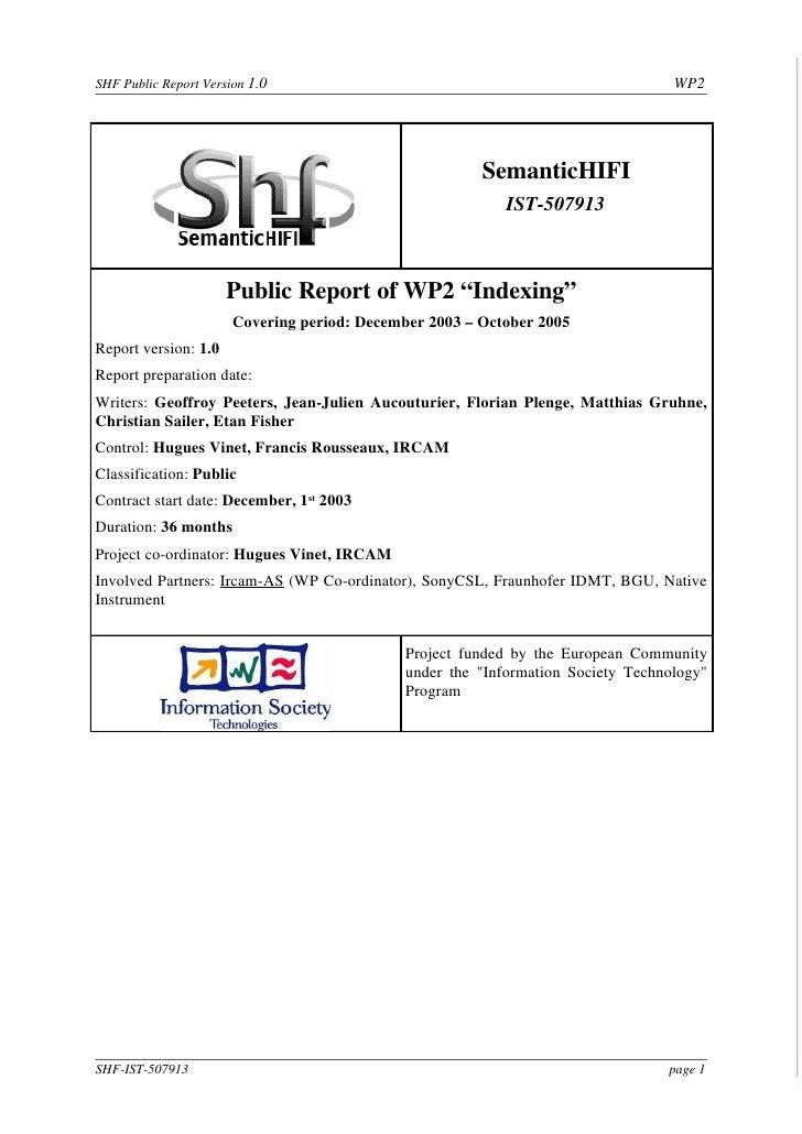 SHF Public Report Version 1.0                                                      WP2                                    ...