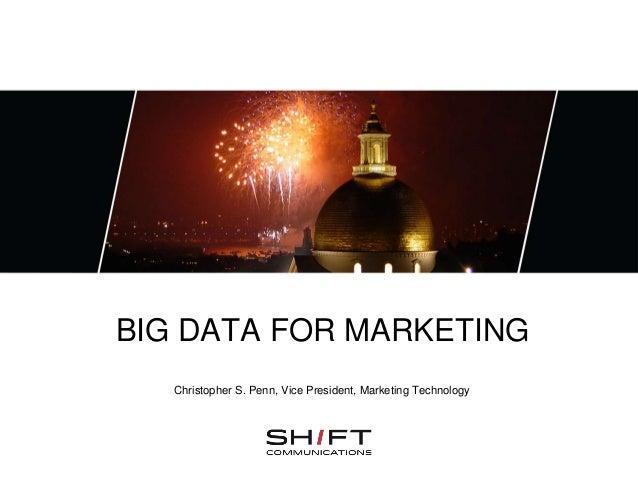 BIG DATA FOR MARKETINGChristopher S. Penn, Vice President, Marketing Technology