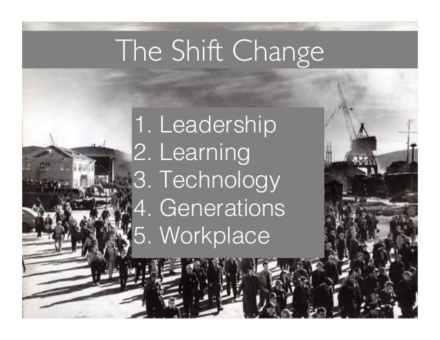 The Shift Change 1. Leadership! 2. Learning! 3. Technology! 4. Generations! 5. Workplace!