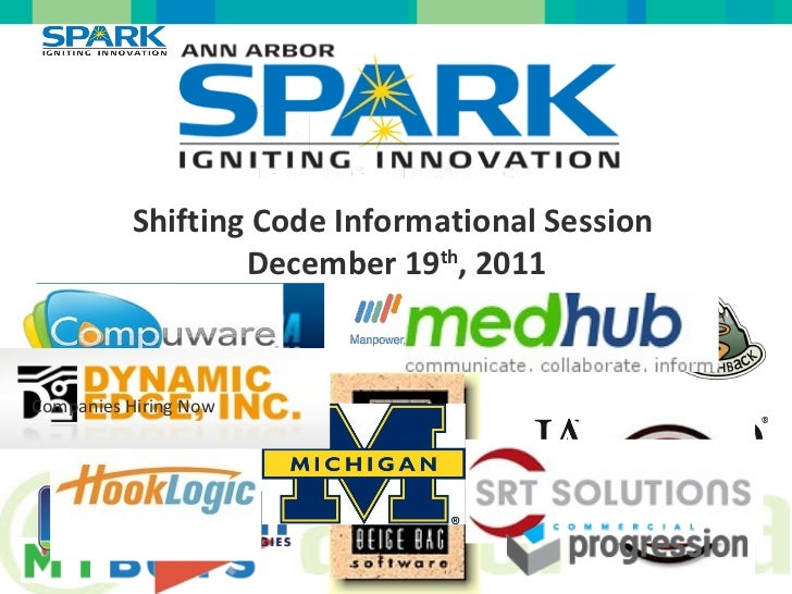 Shifting Code Informational Session  December 19 th , 2011 Companies Hiring Now