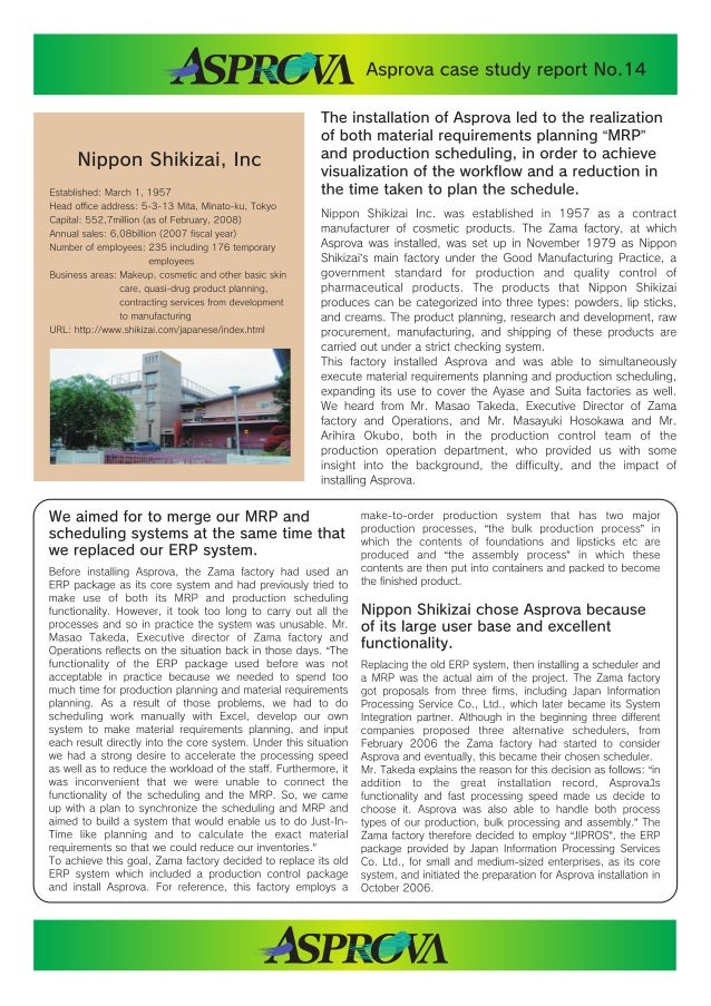 Asprova Case Study Report for Chemicals Industry