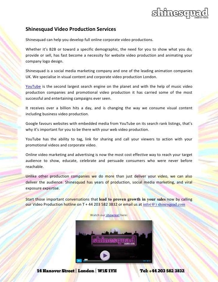 Shinesquad Video Production UK