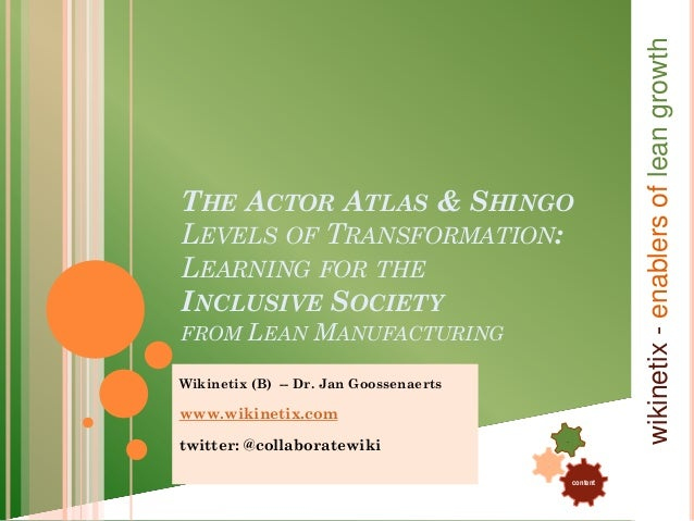 wikinetix - enablers of lean growthTHE ACTOR ATLAS & SHINGOLEVELS OF TRANSFORMATION:LEARNING FOR THEINCLUSIVE SOCIETYFROM ...