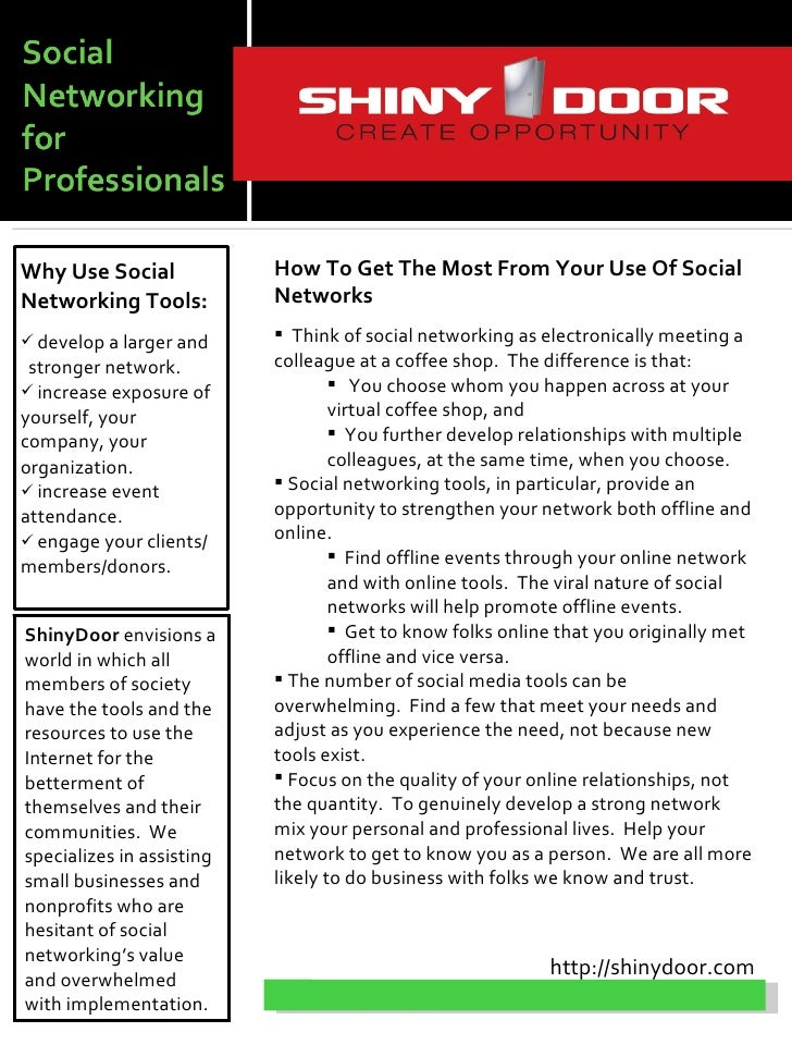 Why Use Social             How To Get The Most From Your Use Of Social Networking Tools:          Networks  develop a lar...