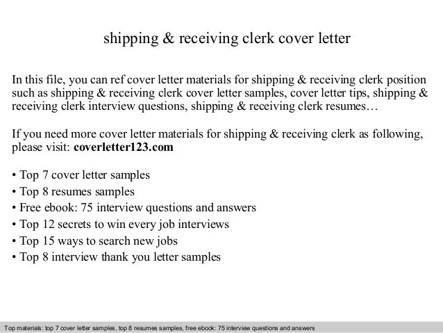 Shipping Amp Receiving Clerk Cover Letter