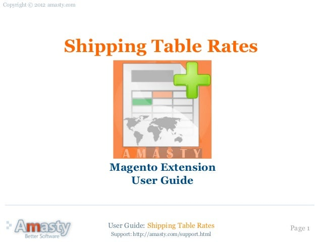 User Guide: Shipping Table Rates Page 1Shipping Table RatesMagento ExtensionUser GuideCopyright © 2012 amasty.comSupport: ...
