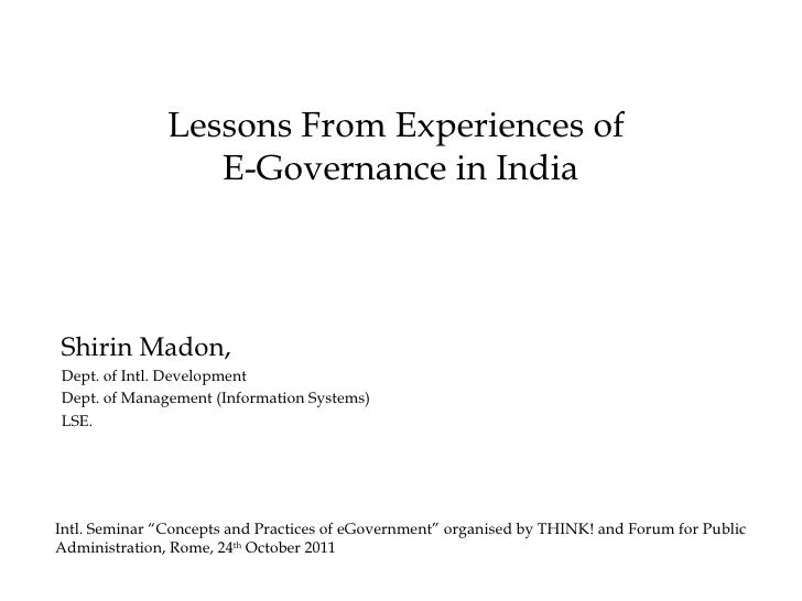 Lessons from Experiences of E-Governance in India