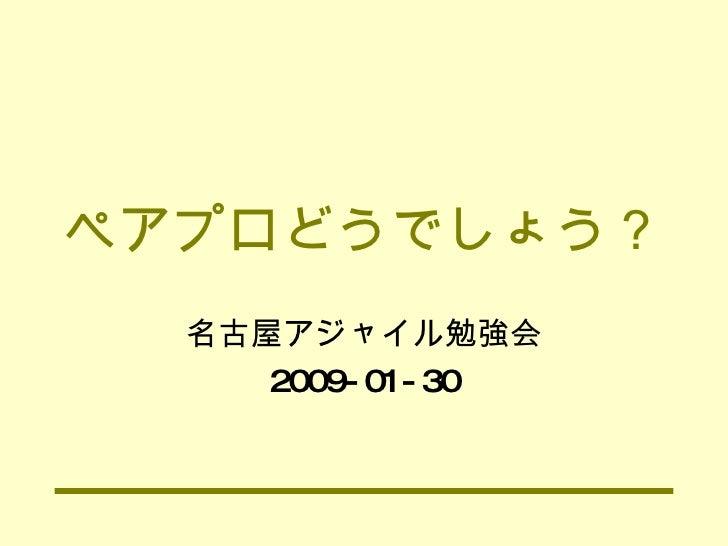 ペアプロどうでしょう? 名古屋アジャイル勉強会 2009-01-30