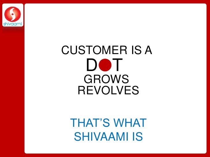 CUSTOMER IS A<br />D   T<br />GROWS<br />REVOLVES<br />THAT'S WHAT SHIVAAMI IS<br />
