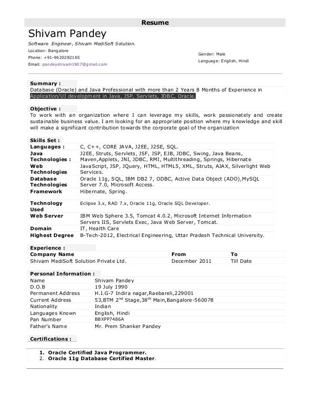 sample resume for software engineer with experience in java - resume format resume format for one year experience