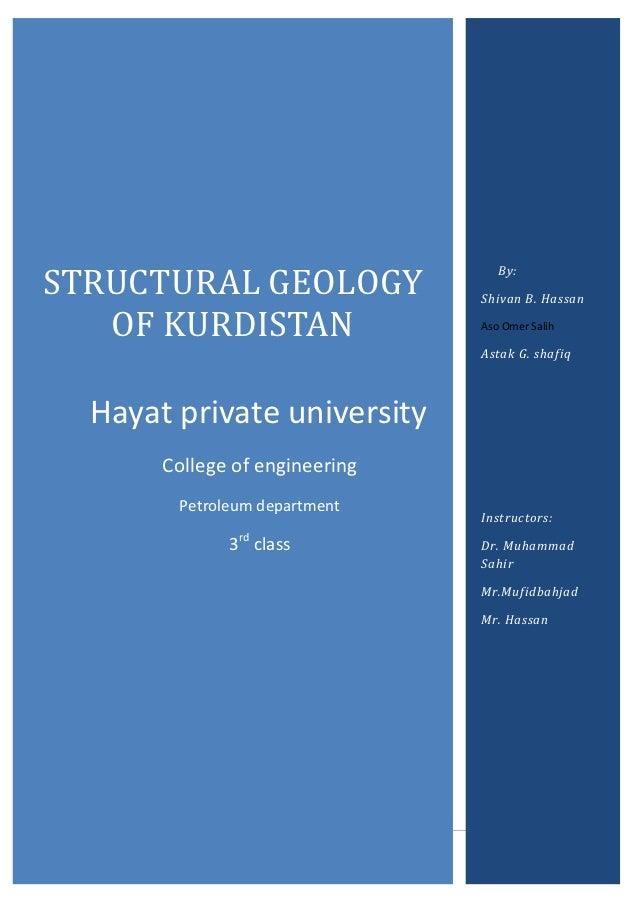 STRUCTURAL GEOLOGY                                   By:                                Shivan B. Hassan   OF KURDISTAN   ...