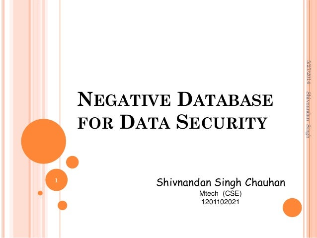 NEGATIVE DATABASE FOR DATA SECURITY Shivnandan Singh Chauhan Mtech (CSE) 1201102021 5/27/2014 1 ShivnandanSingh
