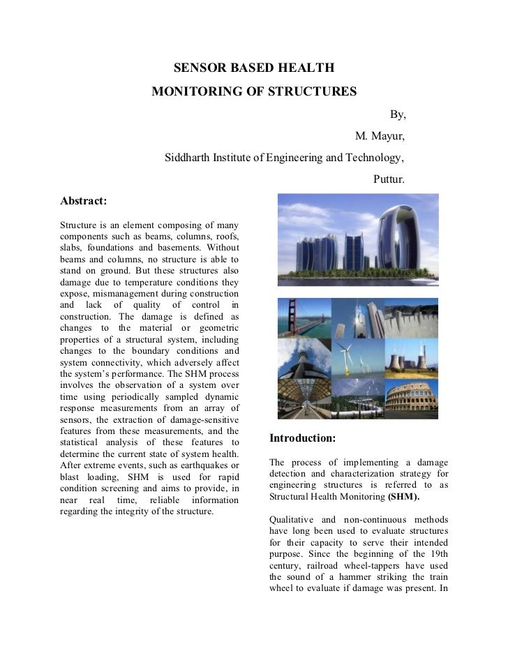 SENSOR BASED HEALTH                      MONITORING OF STRUCTURES                                                         ...