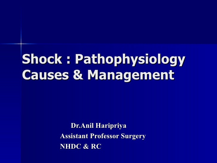Shock : Pathophysiology Causes & Management Dr.Anil Haripriya Assistant Professor Surgery NHDC & RC