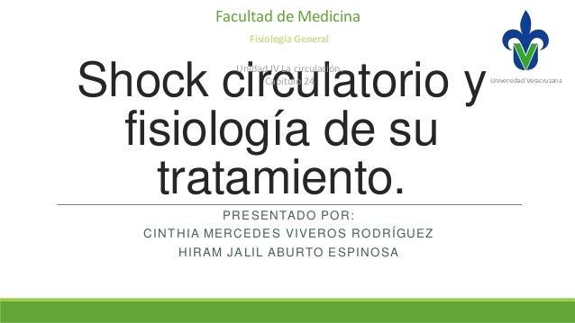 Facultad de Medicina Fisiología General  Shock circulatorio y fisiología de su tratamiento. Unidad IV La circulación. Capi...