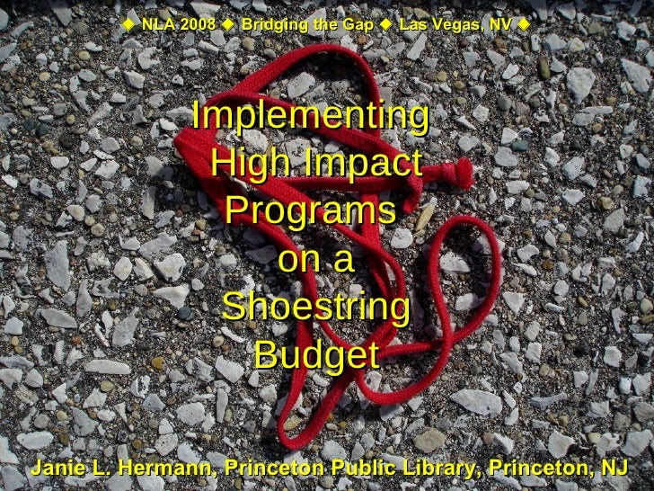 Janie L. Hermann, Princeton Public Library, Princeton, NJ Implementing  High Impact Programs  on a Shoestring Budget    N...