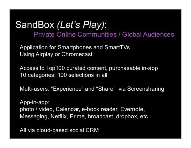 SandBox (Let's Play): Private Online Communities / Global Audiences Application for Smartphones and SmartTVs Using Airplay...