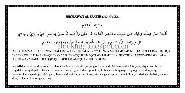 SHOLAWAT AL-FAATIH (PEMBUKA)َص َص َصاحِت ا َصفْال ةِ ِ َّل َص ُه اَصِ ِِّل َص َص َص...