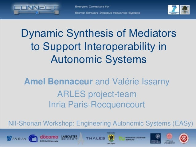 Dynamic Synthesis of Mediators    to Support Interoperability in        Autonomic Systems    Amel Bennaceur and Valérie Is...