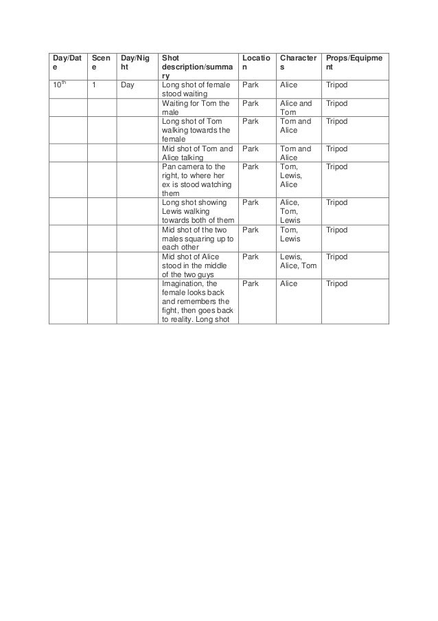Addidtional Shooting schedule