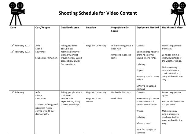 Shooting Schedule for Video Content Date Cast/People Details of scene Location Props/Mise-En- Scene Equipment Needed Healt...
