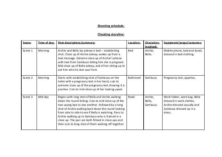 Shooting schedule   soap planning