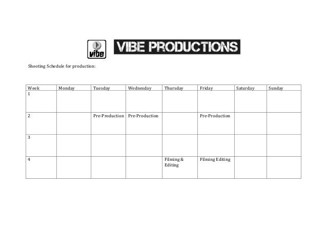 Shooting Schedule for production:Week          Monday           Tuesday        Wednesday        Thursday    Friday        ...