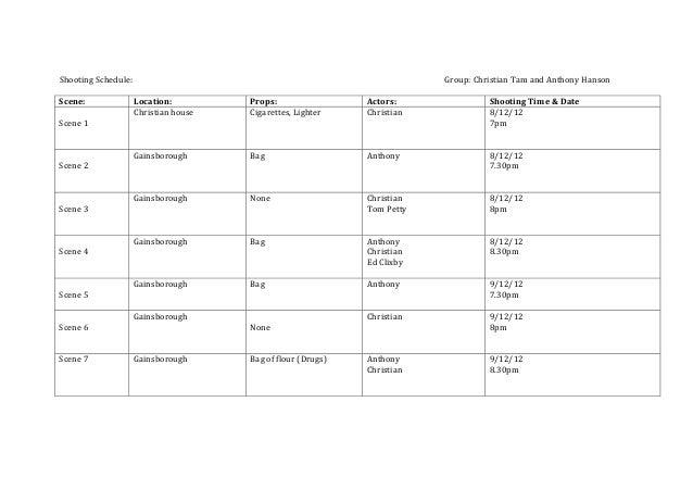 film schedule template
